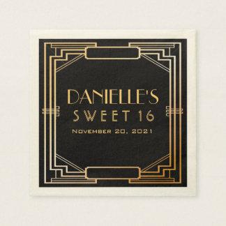 Great Gatsby Art Deco Sweet 16 Personalized Napkin