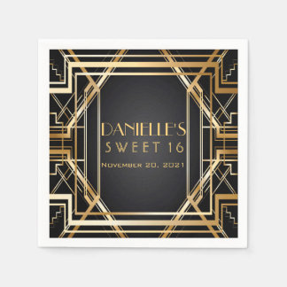 Great Gatsby Art Deco Sweet 16 Personalized Napkin