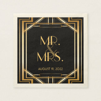 Great Gatsby Art Deco Wedding Personalized Napkin