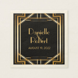 Great Gatsby Art Deco Wedding Personalized Napkin