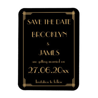 Great Gatsby Art Deco Wedding Save The Date Magnet
