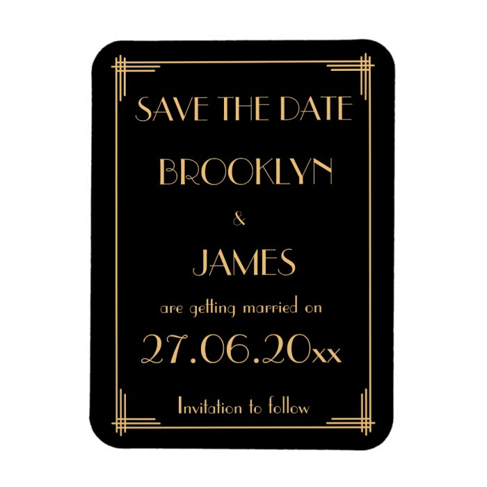 great gatsby art deco wedding save the date magnet zazzle. Black Bedroom Furniture Sets. Home Design Ideas