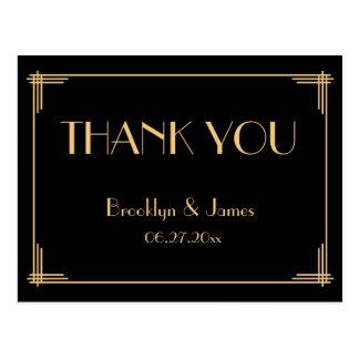 Great Gatsby Art Deco Wedding Thank You Postcards