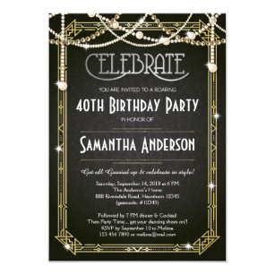 Great Gatsby Birthday Invitation Art Deco Invite