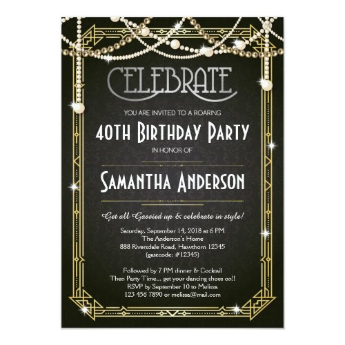 Great Gatsby Birthday invitation  Art Deco invite