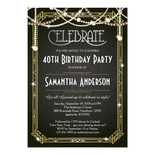 great gatsby birthday invitation art deco invite zazzle com