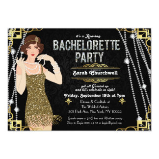 Great Gatsby Flapper Girl Bachelorette Invitation