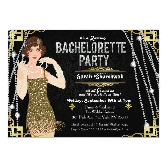 Great Gatsby Flapper Girl Bachelorette Invitation Zazzlecom