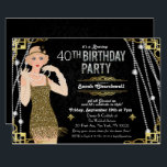 "Great Gatsby Flapper Girl Birthday Invitation<br><div class=""desc"">Celebrate like they did in the Swinging Twenties with our fabulous,  Great Gatsby-inspired invitation. Whether you're planning a bachelorette party or a birthday party,  take your event back in time to the fabulous era of Art Deco and lavish living.  //BRUNETTE HAIR OPTION AVAILABLE IN SHOP//</div>"