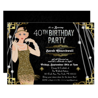 Great Gatsby Flapper Girl Birthday Invitation