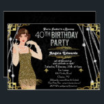 """Great Gatsby Flapper Girl Birthday Invitation<br><div class=""""desc"""">Celebrate like they did in the Swinging Twenties with our fabulous,  Great Gatsby-inspired invitation.  Whether you're planning a bachelorette party or a birthday party,  take your event back in time to the fabulous era of Art Deco and lavish living.  //BLONDE HAIR OPTION AVAILABLE IN SHOP//</div>"""