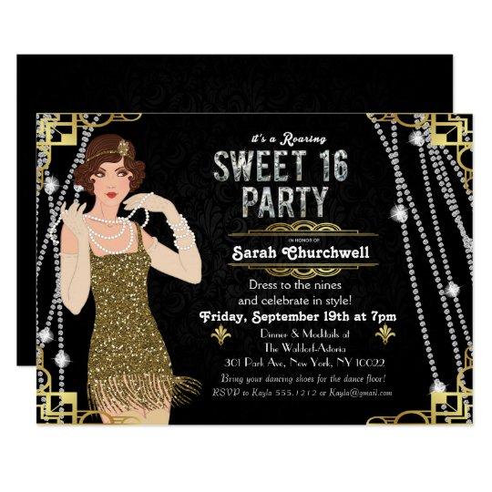 great gatsby flapper sweet 16 birthday invitation zazzle com