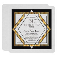 Great Gatsby Gold White Art Deco 30 Birthday Party Invitation