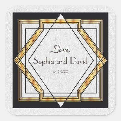 Great Gatsby Gold White Art Deco Wedding Square Sticker