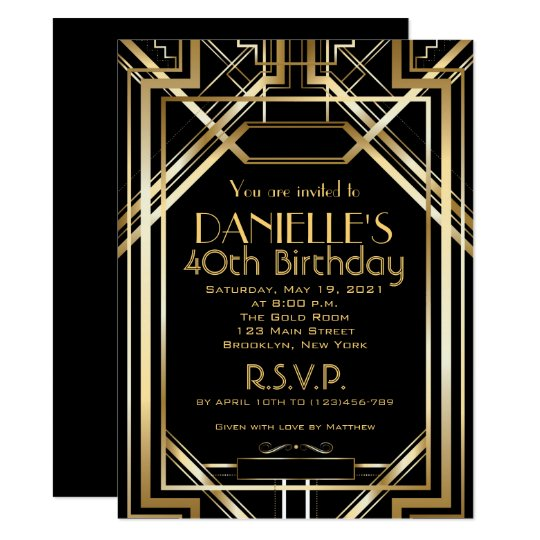 Great Gatsby Inspired Art Deco Birthday Invitation ...