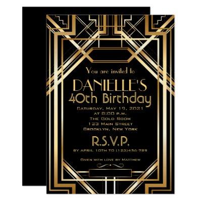 great gatsby inspired art deco birthday invitation zazzle com