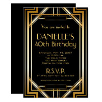 Great Gatsby Inspired Art Deco Birthday Invitation