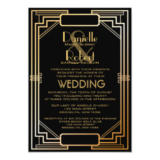 great gatsby inspired art deco wedding invitation - Great Gatsby Wedding Invitations