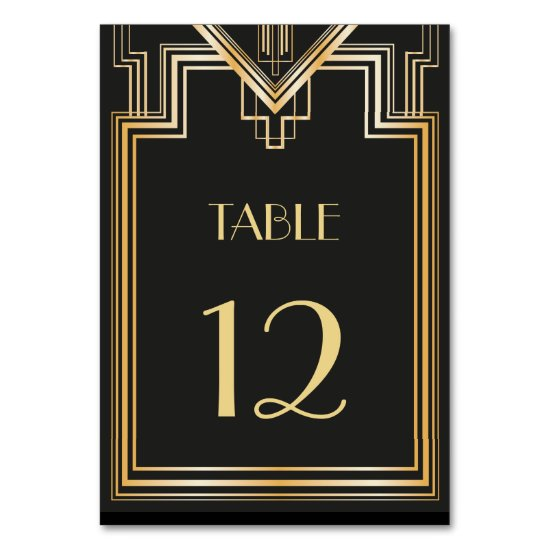 Great Gatsby inspired Table Number card