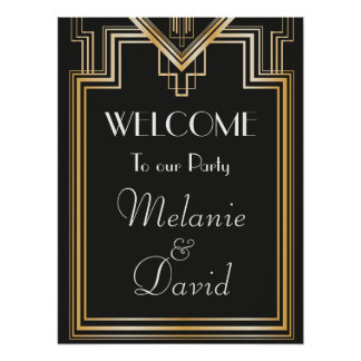 Great Gatsby Inspired Welcome Party Signage Poster