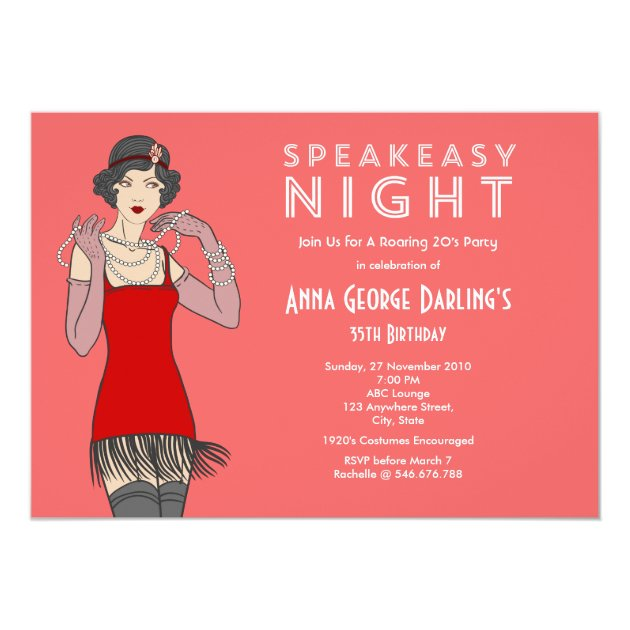 Great Gatsby Roaring 20's Birthday Party Card