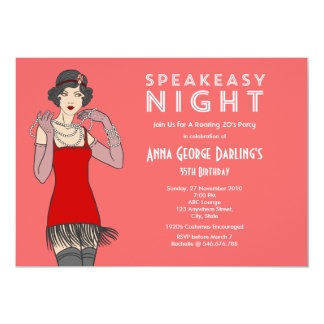 Great Gatsby Roaring 20's Birthday Party 5x7 Paper Invitation Card