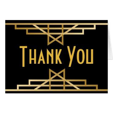 Wedding Themed Great Gatsby Thank You Black Gold Art Deco Wedding Card