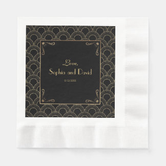 Great Gatsby Vintage 1920s Art Deco Wedding Napkin