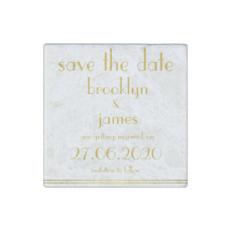 Great Gatsby Wedding Save The Date Stone Magnets