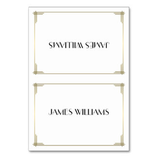 Great Gatsby White Art Deco Place Setting Cards