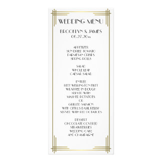 Great Gatsby White Art Deco Wedding Menu Card