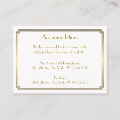 Great Gatsby White Wedding Accommodation Cards
