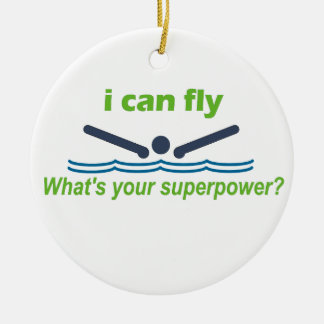 Great gift for the butterfly stroke swimmer! Double-Sided ceramic round christmas ornament