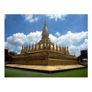 great gold stupa laos postcard