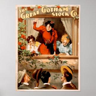 Great Gotham Stock Co Romantic Vintage Poster Art
