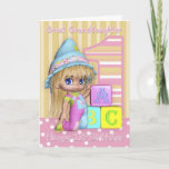 """Great Granddaughter 1st Birthday Card<br><div class=""""desc"""">Great Granddaughter 1st Birthday Card With Cute Little Girl And Blocks</div>"""