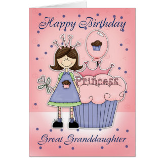 Great Granddaughter Birthday Card - Cupcake Prince