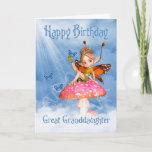 "Great Granddaughter Birthday Card - Cute Fairy On<br><div class=""desc"">Great Granddaughter Birthday Card - Cute Fairy On A Mushroom</div>"
