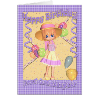 Great Granddaughter Birthday Card - Cute Little Gi