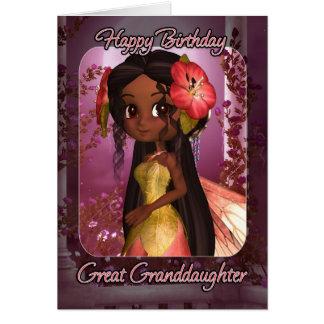 Great Granddaughter Birthday Card - Cute Pink Fair