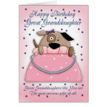 Great Granddaughter Birthday Card - Cute Purse Pet