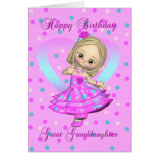 great granddaughter birthday card - pink and blue