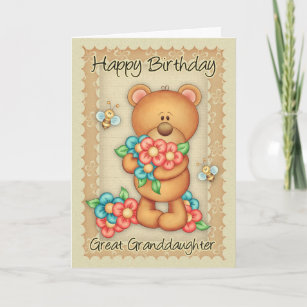 Great Granddaughter Birthday Card With A Bunch Of
