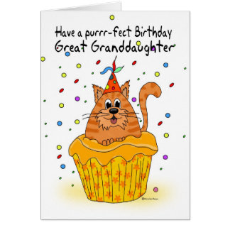great granddaughter birthday card with ginger cat