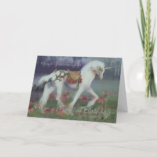 Great Granddaughter Birthday Card with Unicorn, Fa