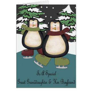 Great Granddaughter & Boyfriend Penguins Christmas Card