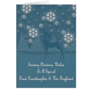 Great Granddaughter & Boyfriend Reindeer Christmas Card