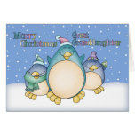 Great Granddaughter Christmas Card With Penguins