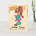 """Great Granddaughter Cute And Trendy Birthday Card<br><div class=""""desc"""">A sweet little girl walking with her books on a floral swirl modern background</div>"""