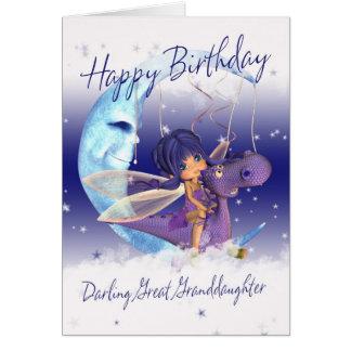 Great Granddaughter Cute Birthday card, purple dra Greeting Card